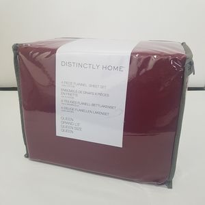 Distinctly Home Red Flannel Cotton Sheet Set